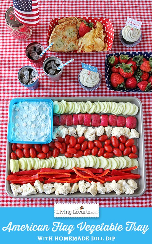 American Flag Vegetable Tray & Dill Dip Recipe. Patriotic Party Food Ideas. LivingLocurto.com