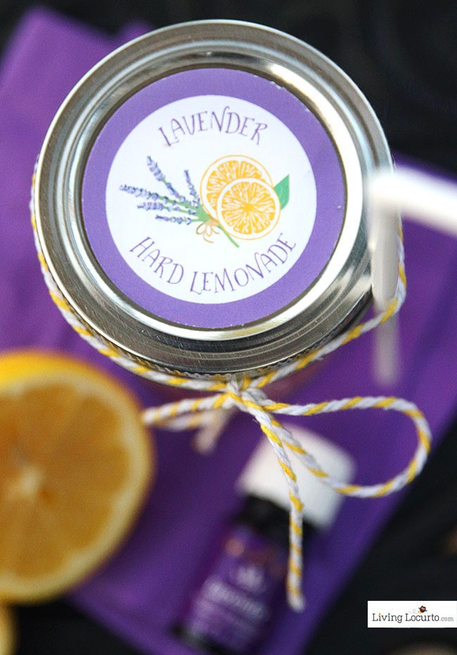 Lavender Hard Lemonade and free printable labels. A cute drink to make by the jar for a party. Smelling the lavender as you sip is refreshing and relaxing.