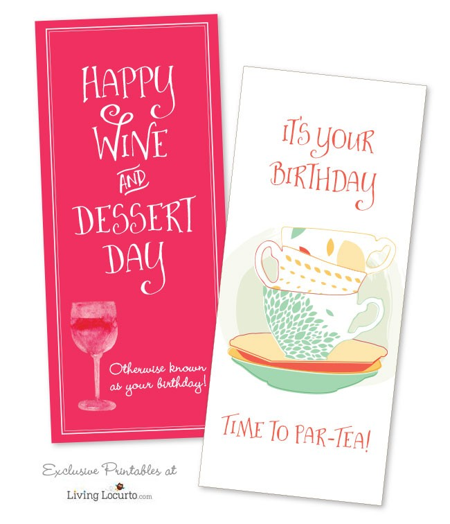 Funny Printable Birthday Cards for Wine and Tea Lovers! Exclusive designs at LivingLocurto.com