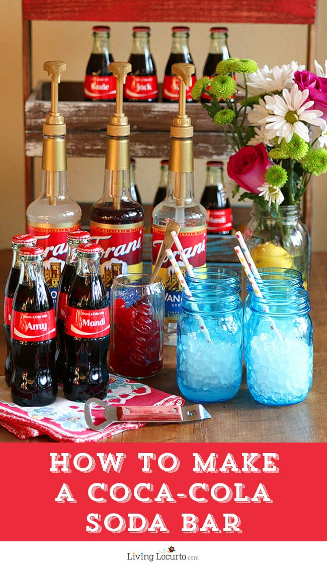 How to make a DIY Coca-Cola Soda Bar. A fun and easy party alternative idea to the Italian Soda Bar. LivingLocurto.com #ShareaCoke #ShareaCokeSweepstakes