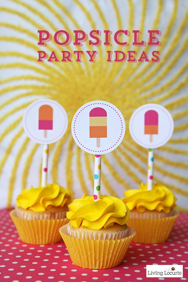 DIY Popsicle Party Ideas. Cute printable cupcake tags via @livinglocurto