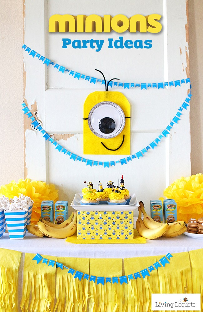 Simple and Cute Minions Party Ideas! DIY ideas for a Despicable Me Party or Minions themed birthday. LivingLocurto.com