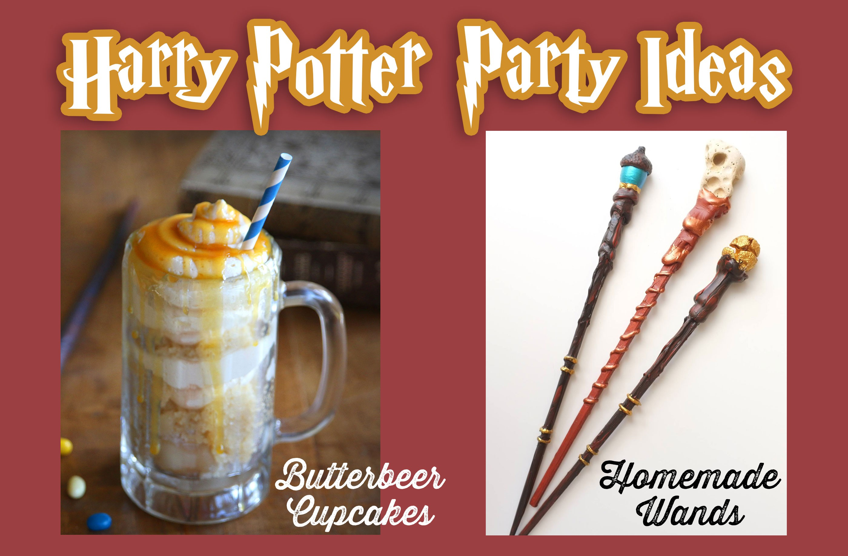 Harry Potter DIY Party Ideas - Butterbeer Cake in a Mug and Homemade Wand Craft by Living Locurto and Red Ted Art
