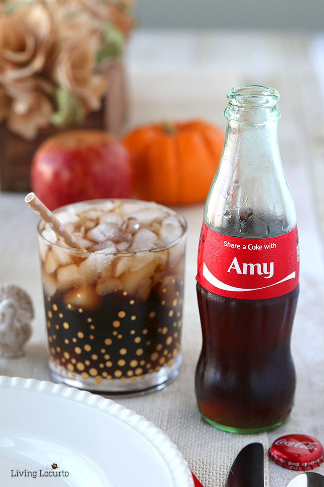 Easy Personalized Place Setting with Coke Bottles! Thanksgiving table ideas and Cute Fall party favors with Coca-Cola by @livinglocurto