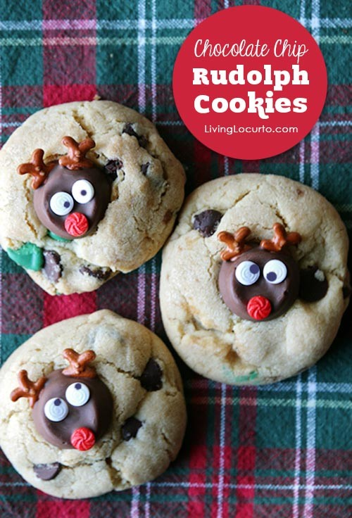 Delicious Rolo Double Chocolate Chip Christmas Cookies shaped like Rudolph the Red Nosed Reindeer! ~ LivingLocurto.com