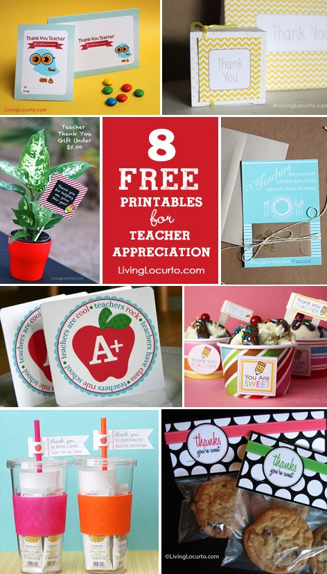 8 Teacher Appreciation Free Printables {Thank You Cards & Tags} LivingLocurto.com