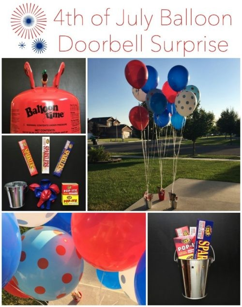 4th of July Balloon Doorbell Surprise Collage