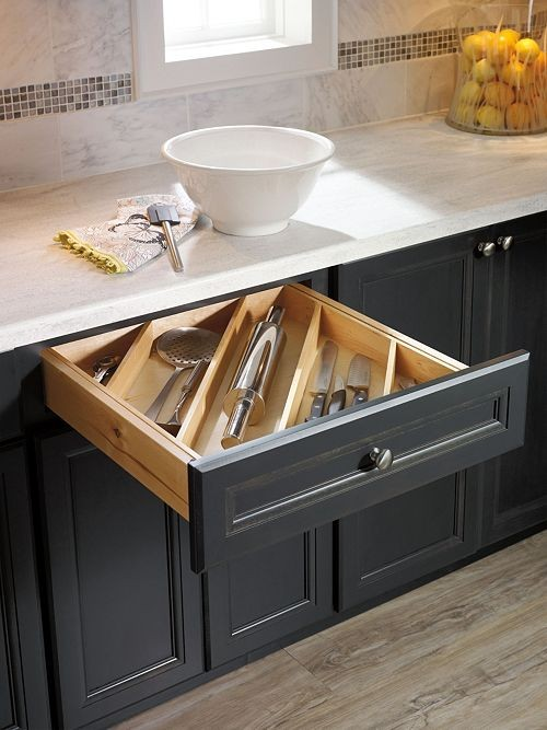 untensil divider kitchen cabinet design - How to choose the perfect kitchen cabinets! Whether you are choosing to upgrade a few things or remodeling your kitchen, these handy tips and kitchen cabinet ideas will help to get you started! LivingLocurto.com