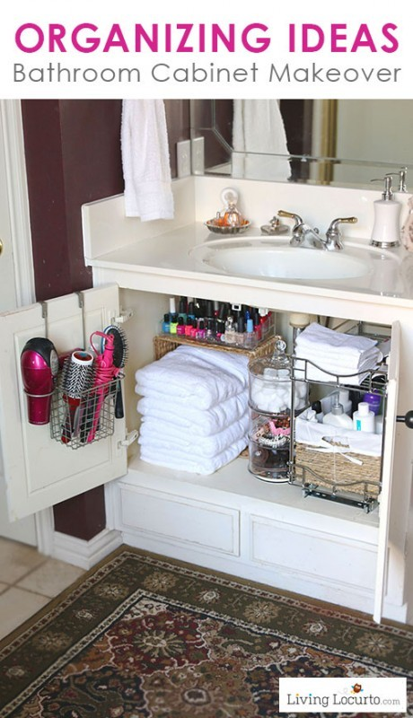 Bathroom Organizing Ideas - Great under the sink cabinet makeover for a small space!