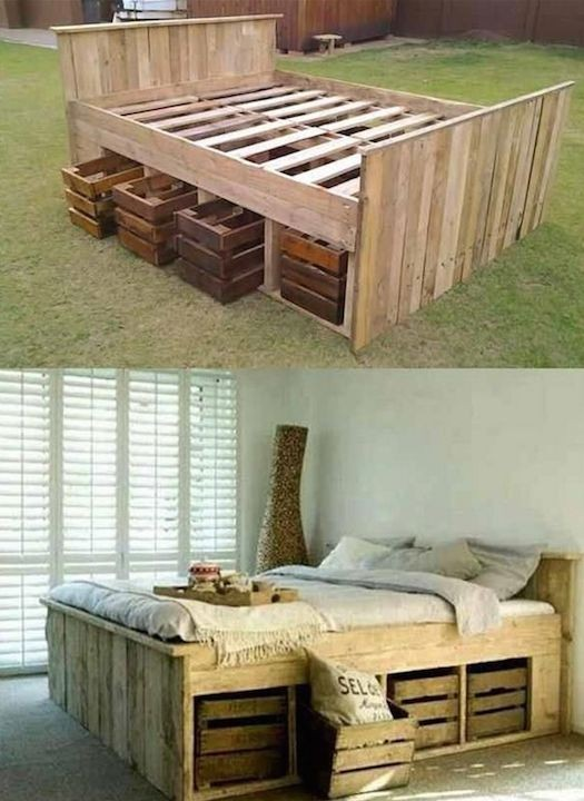 Amazing DIY Pallet Beds! Love this idea.