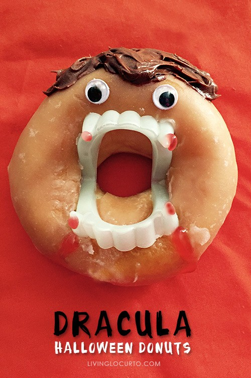 Dracula Halloween Donuts. Easy no bake dessert or breakfast. Livinglocurto.com