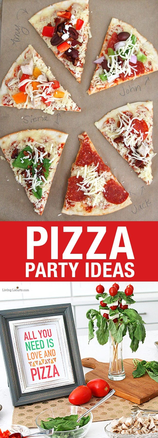 Easy Pizza Party Ideas! How to make a pizza bar with frozen pizza. Buffet idea for a family dinner, birthday party or graduation. Free printable pizza quotes.