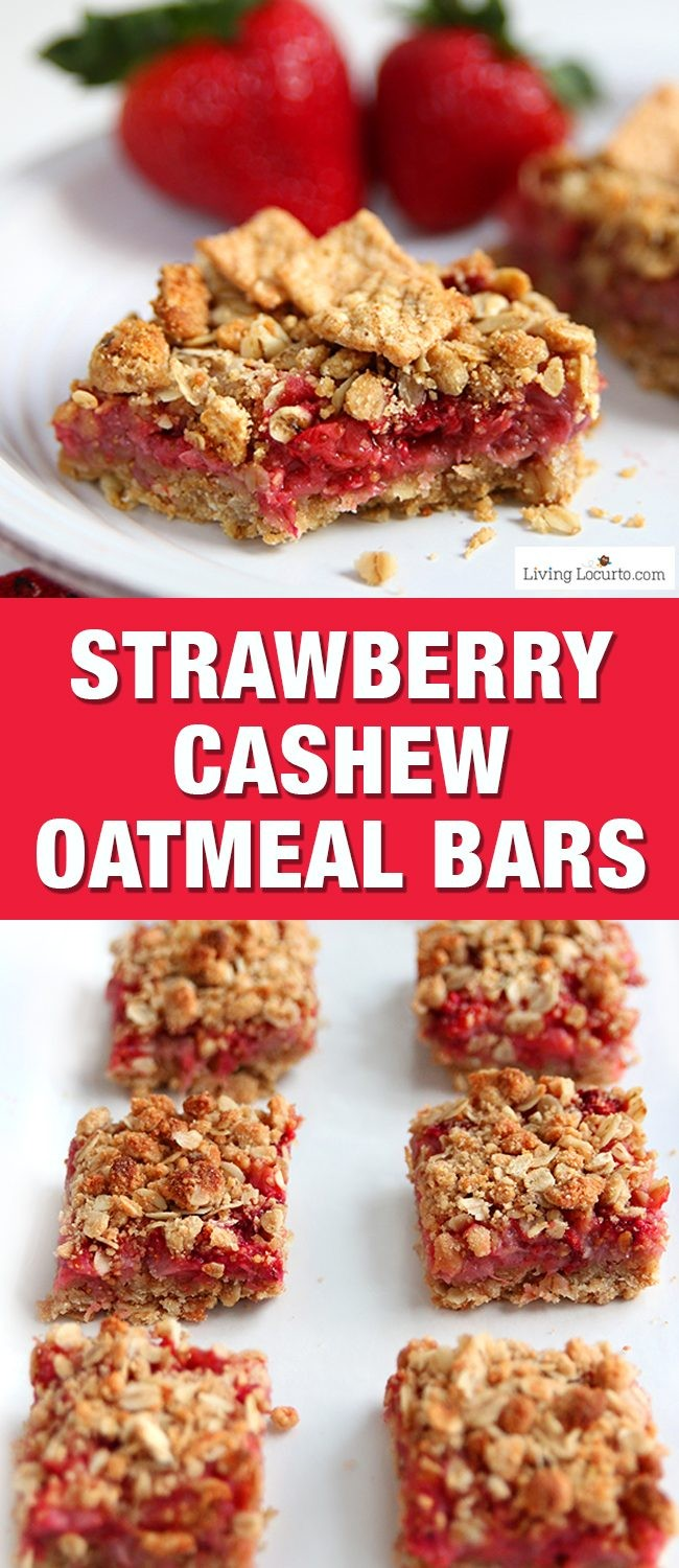 These Strawberry Cashew Oatmeal Bars are a tasty homemade breakfast bar! Easy recipe for breakfast made with fresh picked strawberries. Eat for a snack or put in your kids school lunch box. Good summer party treat. A delicious Cinnamon Toast Crunch cereal recipe made with whole grain.