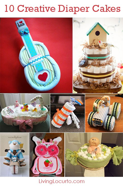 Creative Diaper Cakes! Cute DIY Baby Shower Party Ideas. Love these cute ideas for gifts and table centerpieces. Fun Baby Shower Game Ideas and More!