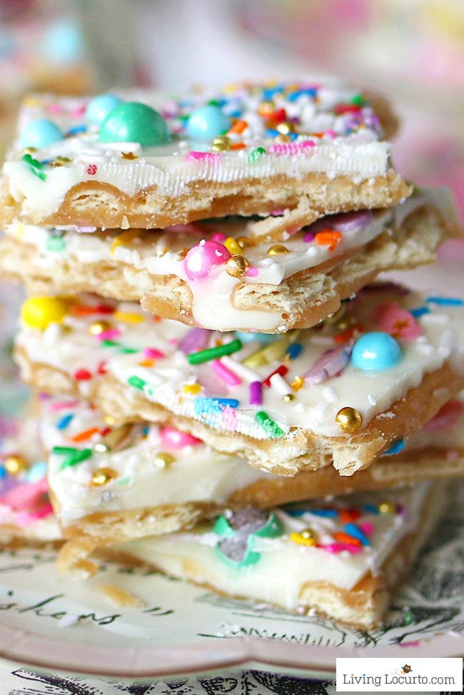 Unicorn Crack is an addicting white chocolate saltine toffee recipe! Topped with pastel rainbow sprinkles, this easy treat is perfect for Easter, a unicorn party or rainbow birthday celebration.