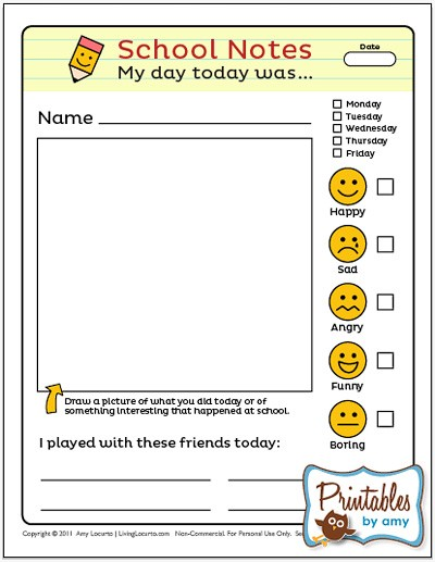 School Notes Free Printable by Living Locurto