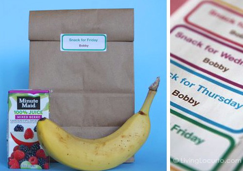 Free School Snack Labels - Back to School Free Printables
