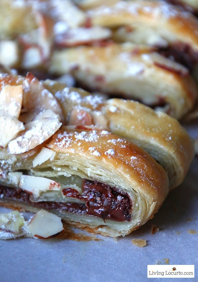 Chocolate Braid Recipe. Easy Puff Pastry Dessert.